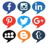 Collection of popular bubble shape social media logos - stock photo
