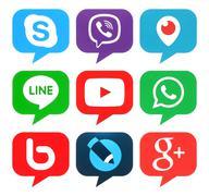 Collection of popular bubble shape social media logos Stock Photos