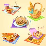 Bakery cartoon set - stock illustration