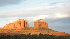 Cathedral Rock at sunrise Sedona Arizona (pan) - stock footage