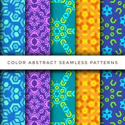 Stock Illustration of color abstract seamless pattern set.