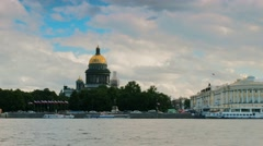 Russia. St. Petersburg. Neva River. Isaac's cathedral . Stock Footage