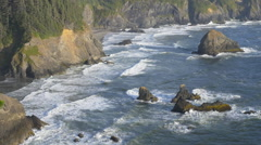 Rocky Southern Oregon coast (zoom out) Stock Footage
