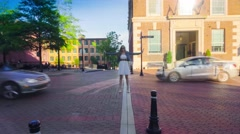 Cinemagraph of Woman Standing In Traffic Stock Footage