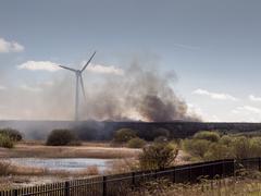 Fleetwood, Lancashire, UK. April 17th 2016. Heavy acrid smoke and polution ca Stock Photos