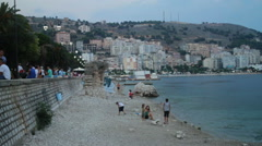 SARANDA CITY BEACH ALBANIA - stock footage