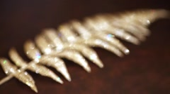 Feather shaped golden decoration enters focus and then leaves it. Stock Footage