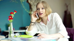 Businesswoman having a businesscall and working on documents Stock Footage
