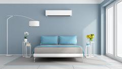 Modern bedroom with air conditioner Piirros
