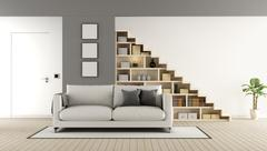 Contemporary living room with staircase - stock illustration