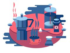 Stock Illustration of Coffee at breakfast design