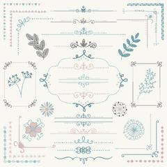 Stock Illustration of Vector Hand Sketched Rustic Design Elements, Dividers
