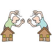 Neighbors fighting Stock Illustration