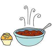 Bowl of chili and cornbread muffin Stock Illustration
