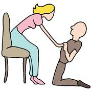 Man proposing marriage - stock illustration