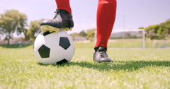 Football player standing on ball Stock Footage