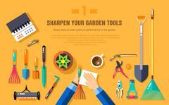 SHARPEN YOUR GARDEN TOOLS - stock illustration