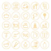 Line Circle Kitchenware and Cooking Icons Set - stock illustration