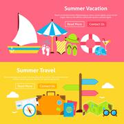Summer Travel Vacation Flat Website Banners Set Stock Illustration