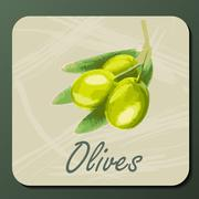 Green olive on a branch Stock Illustration