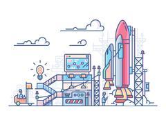 Startup rocket launch Stock Illustration