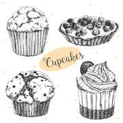 Hand drawn cakes - stock illustration