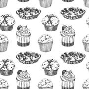 Cakes hand drawn pattern - stock illustration