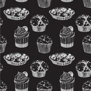 Cakes hand drawn pattern Stock Illustration