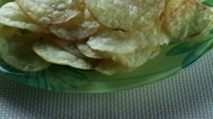 Close-up shot of potato chips - stock footage
