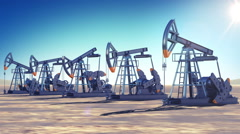 Oil Pumps at work in the desert. Sun Shining. Looped 3d animation Stock Footage