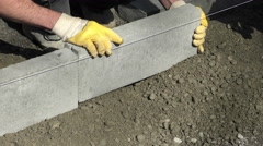 Workers laid the curb Stock Footage