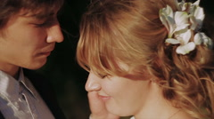 Groom Gently Touched to Bride Face at Sunset Stock Footage