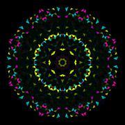 Abstract Geometric Bright Kaleidoscope Pattern. Circle Symmetric Design Stock Illustration