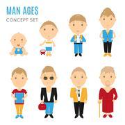 Set of casual man age flat icons Stock Illustration