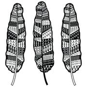 Aztec zentangle style feathers - stock illustration