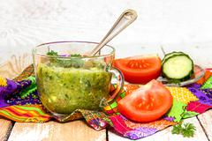 Vegetable smoothie cucumber and tomatoes - stock photo