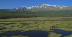 Aerial View. Flying over the Mountain Lake. Altai, Siberia. Kurai Steppe. - stock footage
