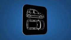 Vector Map intro - Car - Transition Blueprint - blue 02 - stock footage