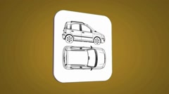 Vector Map intro - Car - Transition Blueprint - yellow 01 Stock Footage