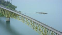 Aerial view of long bridge Stock Footage