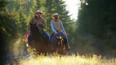 Riders on horses in forest valley Rocky mountains USA Stock Footage