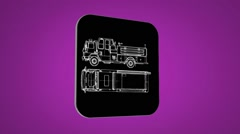 Vector Map intro - Sand Truck  - Transition Blueprint - purple 02 Stock Footage