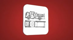 Vector Map intro - Sand Truck  - Transition Blueprint - red - stock footage
