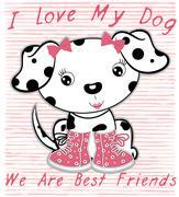 Cute dog graphic design fashion style - stock illustration