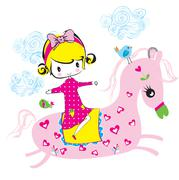 cute girl/T-shirt Graphic/the children's book illustrations/fashion girl grap - stock illustration