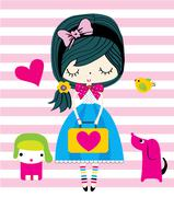 Cute girl graphic design fashion style - stock illustration