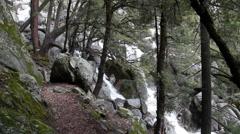 Water Cascading Down Along Chilnualna Trail Yosemite California, Stock Footage