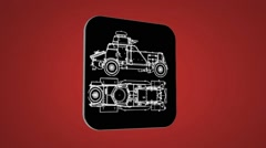 Vector Map intro - War Truck  - Transition Blueprint - red 02 - stock footage