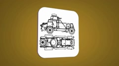 Vector Map intro - War Truck  - Transition Blueprint - yellow 01 - stock footage