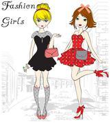 fashion illustration girls - stock illustration